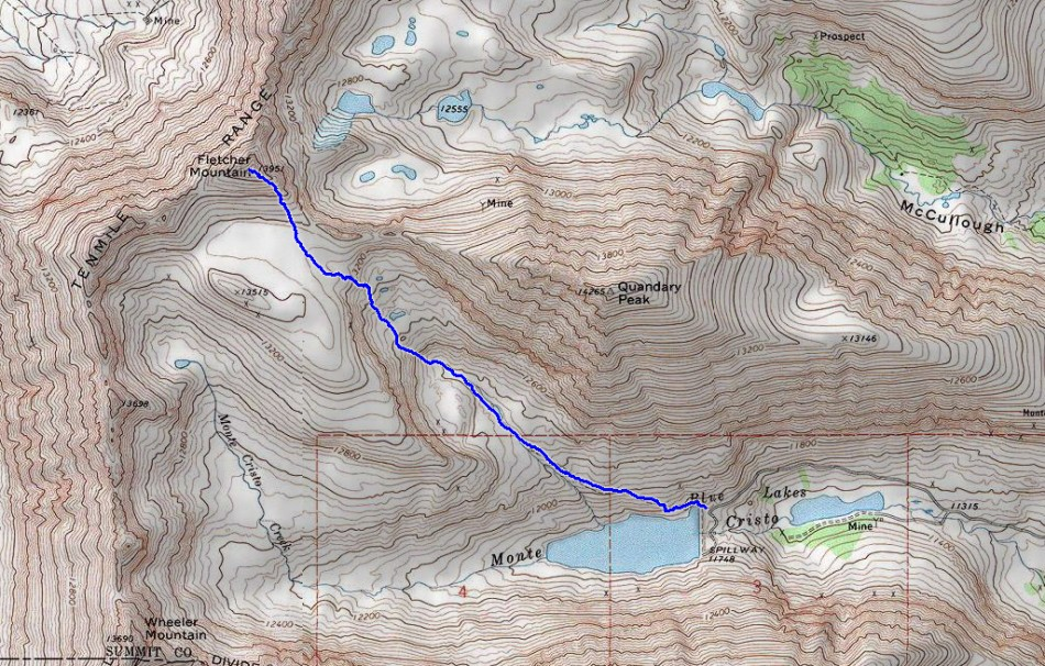 Fletcher Mountain Route Guide Topographic Map