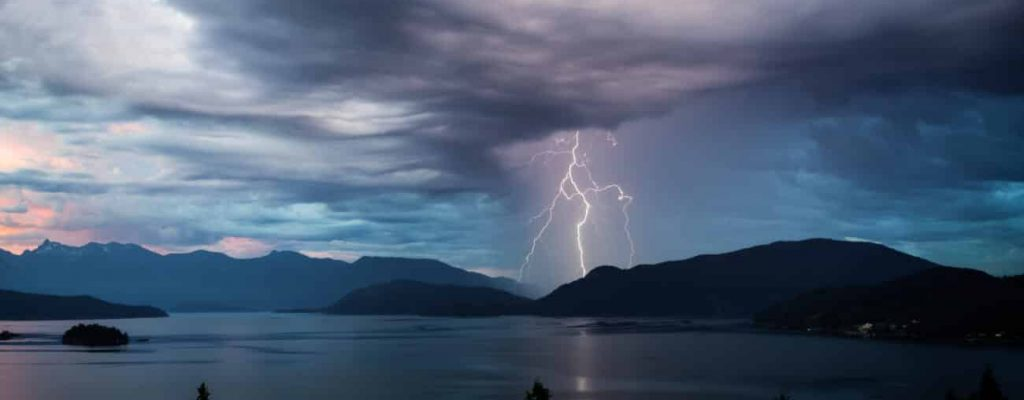 Lightning over the water.